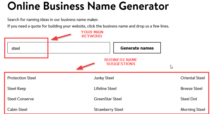 choosing a business name